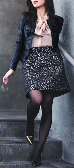 Blank NYC jacket, Gap blouse, Kenneth Cole Petites skirt, AA dot tights, Kate Spade pumps
