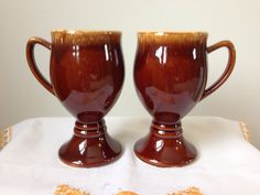 Hull - Brown Drip - Irish Coffee - Pedestal Mug - pair on Etsy, $20.00
