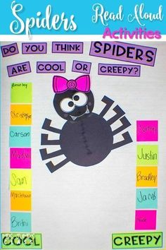 Spider informational text activities for kindergarten and first grade. This is a week long unit of study using a nonfiction book to learn about text features such as the table of contents, labels, captions, and glossary. Your students will love this fun s