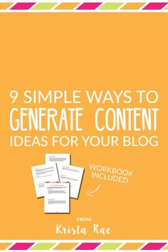Trying to figure out blog post topic when you sit down to write isn't the way to go. Get ahead with these 9 simple ways to generate content ideas for your blog!