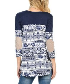 This Navy & White Elephant Elbow Patch Tunic is perfect! #zulilyfinds