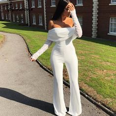 Tobinoone Off The Shoulder Casual Jumpsuit Autumn Winter Sexy Jumpsuit Overalls Women Long Sleeve Club Party Vacation Rompers - TripplePanda - - All White Party Outfits, All White Outfit, Classy Outfits, White Outfits For Women, Dinner Outfits, Black Women Fashion, Look Fashion, Fashion Outfits, Club Fashion