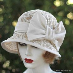 Summer Hat Sinamay Vintage Style 20's Lace and Large Bow Wedding