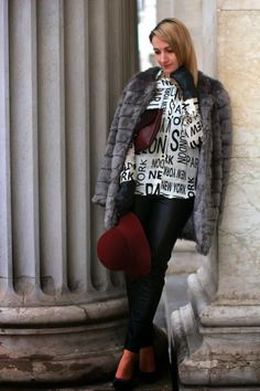 leather pants - Zara / blouse - Forever 21 / coat - New Yorker / hat, clutch - CA / gloves - Roeckl / shoes - Primark / earrings - Dyrberg Kern Spring Colors, Primark, Leather Pants, Zara, Winter Jackets, Black And White, Blouse, Coat, Forever 21