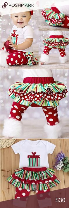 Toddler Christmas Outfit. BUNDLE AND GET 10% OFF. es:   100% brand new and high quality A set of 3: Romper + skirt + a pair of leg warmers 3PCS only, any not included Occasion: Xmas, Festivel, Birthday, etc Material: Cotton Color: As shown Size: 60/70/80/90/100. Matching Sets