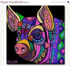 Pig Kitchen Tiles- animal coasters - Pop Art Ceramic Tile - Modern Abstract Print on Coaster    Heather Galler Art Cermaic Tiles          Thank