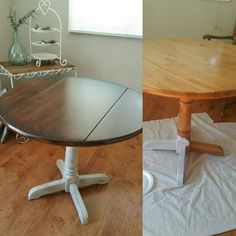 Plain pine table into farmhouse table . Follow  IG @DIY.VINTAGE.LUV