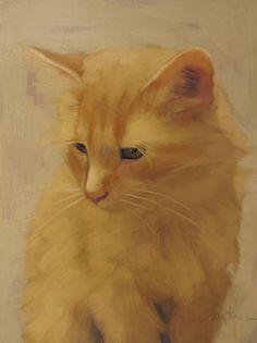 """""""Orange Cat"""" by Diane Hoeptner,  Oil on wood, 8"""" x 6,"""" ©2013"""