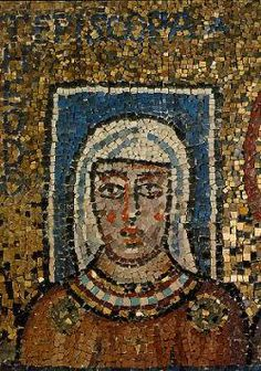 9th century mosaic of Episkopa Theodora located in the Church of Saint Praxedis, Rome.