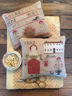 """STACY NASH PRIMITIVES """"Ann's Sampler Pinkeeps""""   Counted Cross Stitch   Primitive, Pinkeep, Alphabet, House, Lady   ** See Note Below ** by NeedleCaseGoodies on Etsy"""