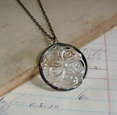 Clear Glass Swirl Necklace Stained Glass by ThatOldBlueHouse2
