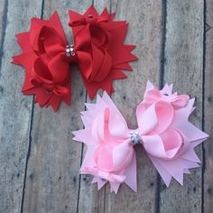 Valentines Day Hairbow - Valentines Day hair bow - Valentines Day bow - Red Hair bow - Pink Hair bow - Valentines Day Boutique Bow by BBgiftsandmore on Etsy