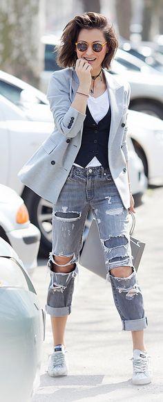#rippedJeans #SpringOutfit #DistressedDenim #ClassicBlazer #ClassicWaistcoat…