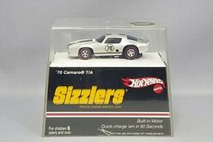 Hot Wheels Sizzlers Grey '70 Camaro . 1:64 Scale 1970 Camaro car with built-in motor. World's coolest electric car. Quick charge Sizzler car in 90 seconds. Charger sold separately. by Mattel. $43.72. Powered by goose pump charger, juice machine, power pit or mega charger
