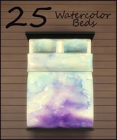 25 Watercolor beddings by PearlStitches at Mod The Sims via Sims 4 Updates