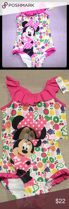🆕 Disney Collection, Minnie Mouse Swimsuit New, Disney Collection, Minnie Mouse Swimsuit, Size 5/6 Disney Collection Swim One Piece