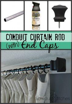 DIY conduit curtain rod Sawdust2stitches
