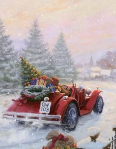 Christmas Scenery, Christmas Red Truck, Christmas Artwork, Snoopy Christmas, Christmas Swags, Christmas Past, Christmas Wishes, Christmas Holidays, Christmas Decorations