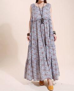 """【Fabric】  cotton 【Color】 light blue Floral, light green floral 【Size】 Shoulder 36cm / 14 """"  Bust 100-104cm / 39-41 """"  Length 130cm / 51 """"  Hem 420cm / 164 """"  Have any qu... #sundress #sleeveless #summer"""