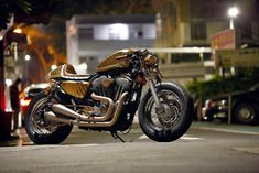 "Harley Davidson Sportster 883 Cafe Racer ""Brass Dragon"" by Iron Lai #motorcycles #caferacer #motos 
