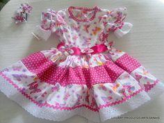 Vestido Junino Menina Rosa Samira Baby Girl Frocks, Frocks For Girls, Little Girl Dresses, Girls Dresses, Summer Dresses, Vestidos Country, Country Dresses, Abaya Fashion, Fashion Dresses