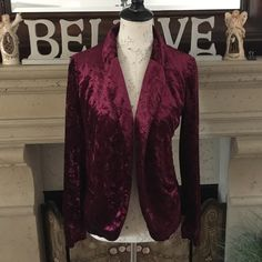 Pacsun Sound and Matter velvet blazer Crushed velvet bordeaux exterior. open front. Fully lined interior. 93% polyester, 7% spandex. No Trades PacSun Jackets & Coats Blazers