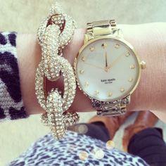 Kate Spade watch + pave chain bracelet