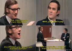 Look, I do not want to argue about that… British Sitcoms, British Comedy, Tv Quotes, Movie Quotes, Welsh, Michael Palin, Great Comedies, Dry Humor, British Humor