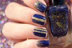 Simple Gold and Blue New Year's Eve Manicure with FUN Lacquer Navy Nail Art, Navy Nails, Gold Nail Art, Striped Nails, Gold Nails, Gold Nail Designs, Simple Nail Designs, Fun Lacquer, Nail Accessories