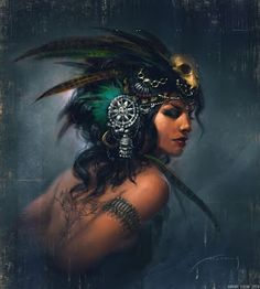 Exotic Tribal Fusion, an art print by Aurore Folny Aztec Tribal Tattoos, Aztec Art, Tribal Fusion, Fusion Art, Fantasy Women, Fantasy Art, Character Inspiration, Character Art, Tribal Warrior