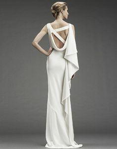 NICOLE MILLER Draped Back Gown With Beaded Straps  krista eberle 904-396-2711