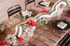 Things you can do with ductwork tubing, air plants, and succulents. Industrial Barn Inspiration