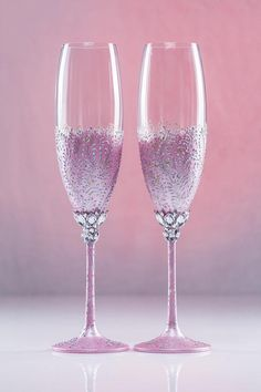 Pink Silver Wedding Glasses Champagne Glasses Champagne Flutes