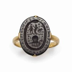 A ROMAN HAEMATITE MAGIC GEM Old Rings, Antique Rings, Antique Jewelry, Ancient Artifacts, Historical Artifacts, Bohemia Jewelry, Roman Jewelry, Coin Ring, Ancient Jewelry