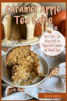 Caramel Apple Tea Cake - moist, fall flavored bundt cake with vanilla glaze