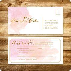 Antwortkarte, Einladung für Hochzeit, Vintage