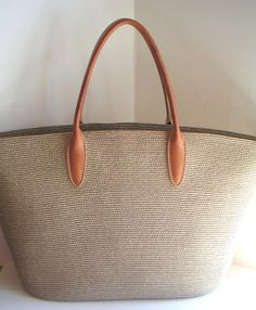 Vintage Woven Tote Bag with Leather Straps.Tote Bag by QVintage, $65.00