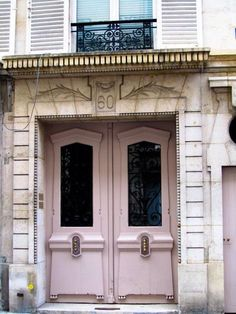 Pink doors in Paris.