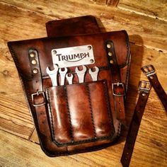 Triumph Bonneville Scrambler side bag left side cover. Cafe racer scrambler. Aged dark walnut colour