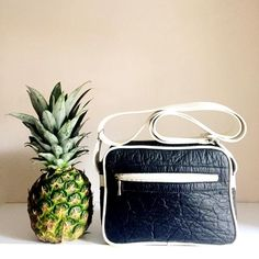 Pinatex pineapple leather unisex bag black
