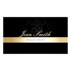 Makeup Artist Gold Striped Black Damask Business CardYou can find Black makeup artist and more on our website. Black Makeup Artist, Gold Stripes, Damask, Black Gold, Business, Cards, Website, Top, Gold Bands