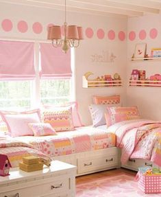 Like this website. Has several ideas for little girl's bedroom. I like the arrangement of three beds.