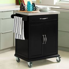 So Wood Kitchen Cabinet Cart Trolley With Rubber Wheels Fkw13 Sch Uk