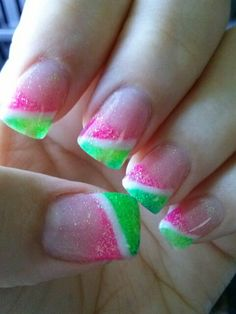 Pink & Green, white, glitter, angled french manicure style tips, free hand nail art