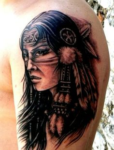 Native American Tattoos for Women | Native American women sleeve tattoo Maybe a softer face