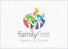 Logo for sale by Melanie D: Bright, bold and modern logo design featuring family figures designed in a simple and clean style. The family people figures are placed over a multicoloured abstract leaf shaped background with little hearts placed around to represent love, compassion and nurture.