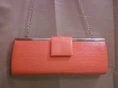 Vintage style Orange/Coral Clutch Purse Handbag...gorgeous!