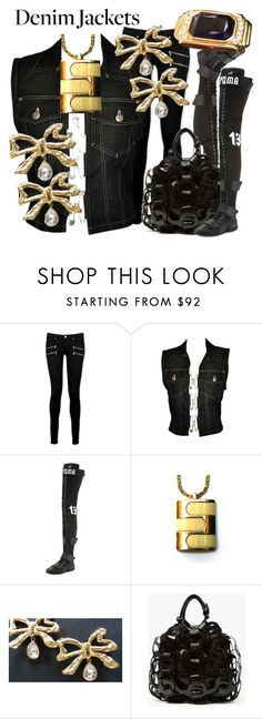 """""""BLACK N BLING"""" by francoisefortier ❤ liked on Polyvore featuring Paige Denim, Jean-Paul Gaultier, Puma, Pierre Cardin, Yves Saint Laurent and vintage"""