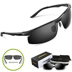 abaed3a8243 Torege Men s Sports Style Polarized Sunglasses For Cycling Running Fishing  Driving Golf Unbreakable Al-Mg