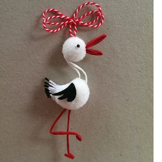 me ~ Pom Pom Stork Macrame Bracelet Patterns, Paper Quilling Cards, Diy And Crafts, Arts And Crafts, Kindergarten Crafts, Folk Embroidery, Stork, Sewing For Kids, Projects To Try